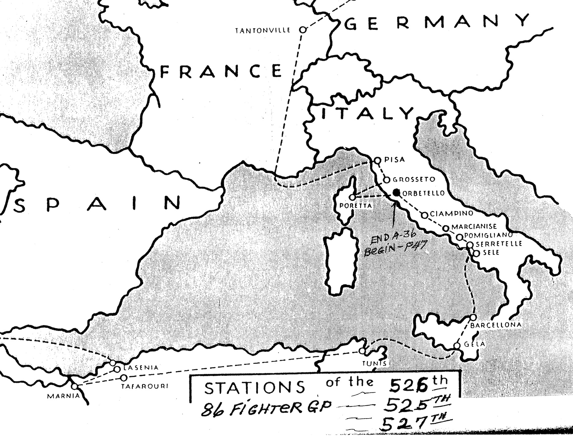 <p class='eng'>Stations of the 86th Fighter Bomber Group.</p>