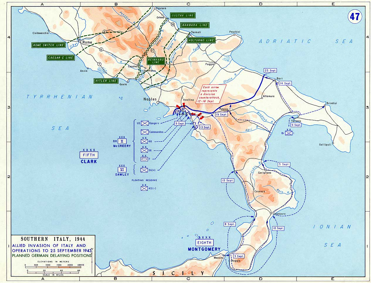 <p>Le varie linee di difesa tedesche tra il gennaio e il giugno 1944.</p><p class='eng'>Southern Italy, 1944. Allied invasion of Italy and operations to 25 semptember 1943. Planned german delaying positions.</p>