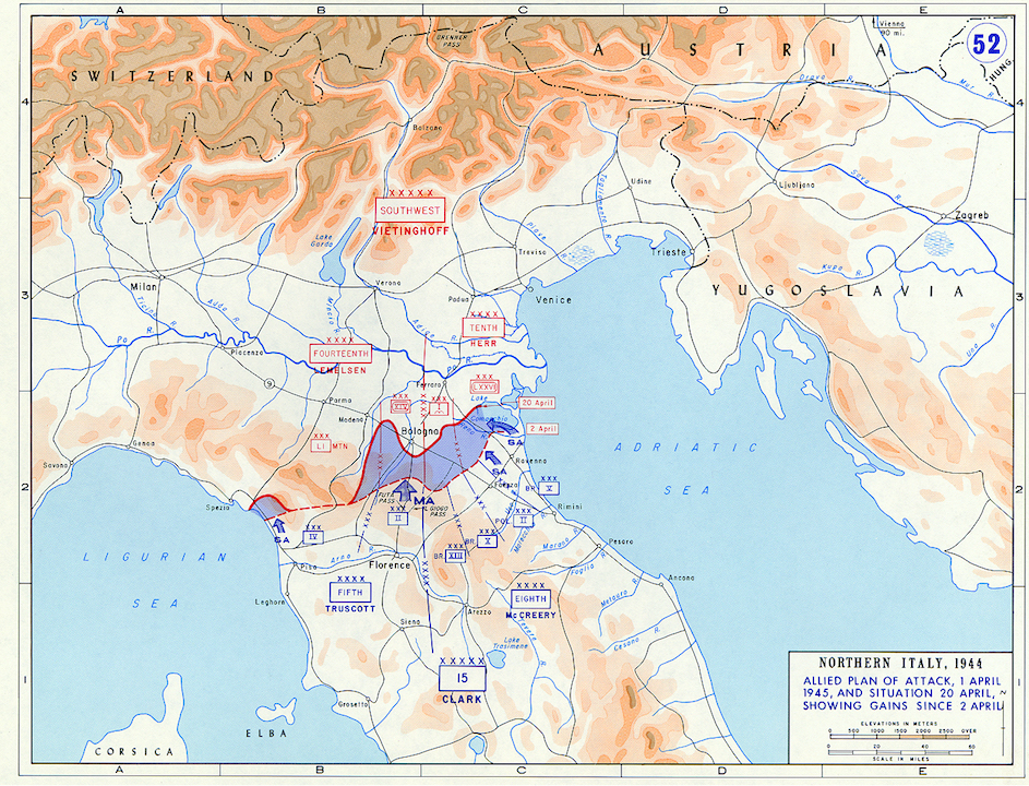 <p class='eng'>Northern Italy, 1944. Allied plan of attack, 1 april 1945, and situation 20 april, showing gains since 2 april.</p>